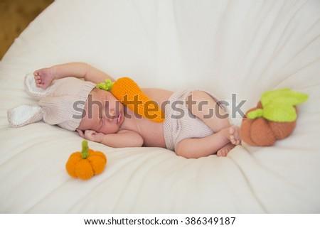 little cute newborn baby - stock photo