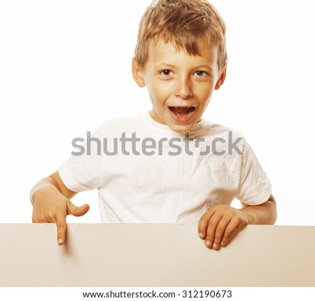 little cute real boy holding empty shit to copyspace isolated close up - stock photo