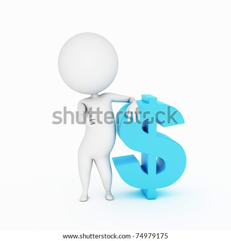 little 3d guy with a dollar sign - stock photo