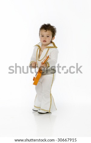 Little elvis with guitar - stock photo
