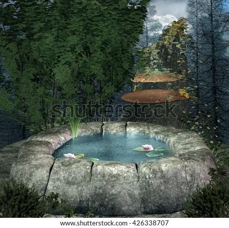 Little fairies pond - 3D illustration - stock photo