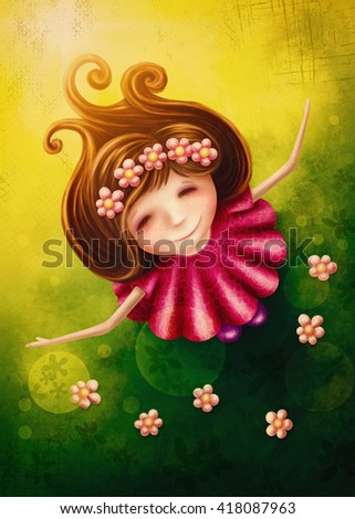 Little fairy girl in spring - stock photo
