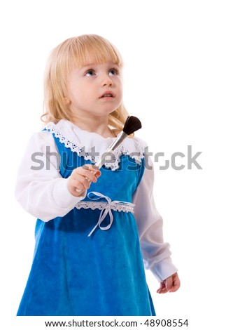 Little female artist wearing blue dress holding brush isolated - stock photo