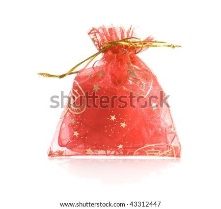 little festive bag on a white background - stock photo