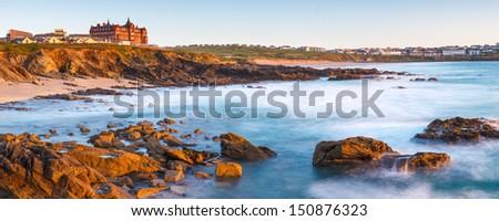Little Fistral Beach Newquay Cornwall England UK - stock photo