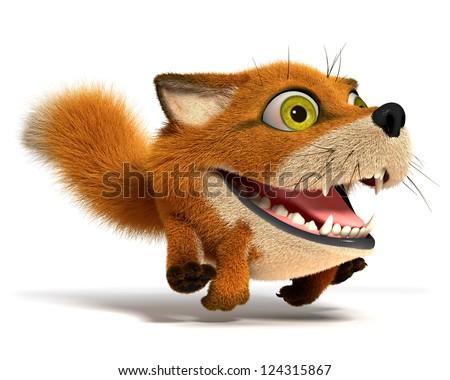 Little fox runs - stock photo