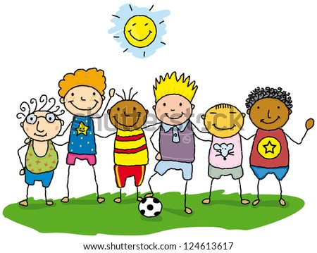 little friends. Team of children in the grass. - stock photo