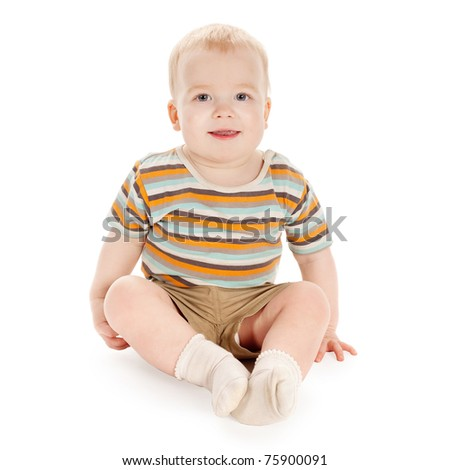 little funny boy isolated on white - stock photo
