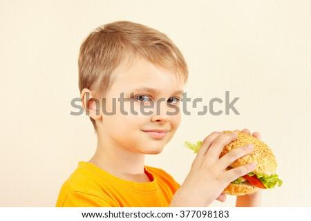 Little funny boy with a tasty hamburger - stock photo