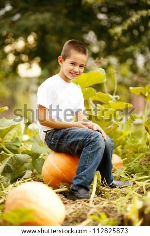 little funny boy with pumpkin - stock photo
