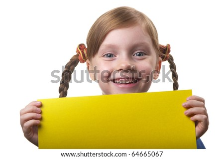 Little funny girl with yellow sheet of paper in the hands isolated over white background - stock photo