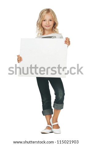 Little girl activity/A girl holding a white sign - stock photo