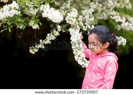 Little Girl Admiring Spring Flowers - stock photo