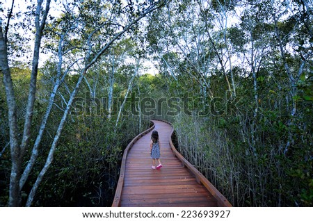 Little girl (age 04) visit in Coombabah Lakelands in Gold Coast Queensland, Australia. - stock photo
