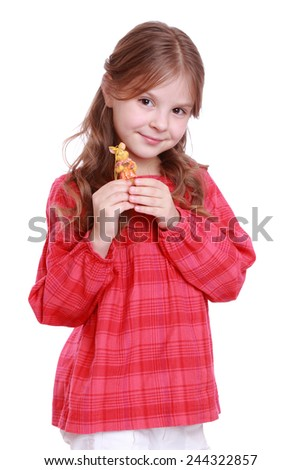 little girl and a little  rabbit - stock photo