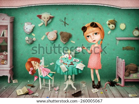 Little girl and her toys - stock photo