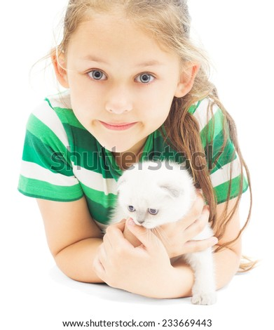 little girl and kitten on a white background isolated - stock photo