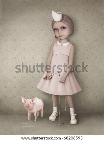 Little girl and  pig. Playing doctor. - stock photo