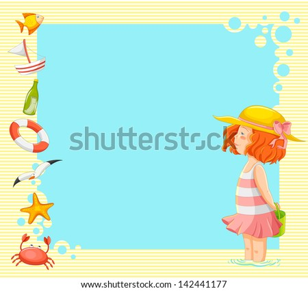 little girl and symbols of summer over background with copy space (vector available in my gallery) - stock photo