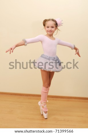 Little girl at the ballet class - stock photo