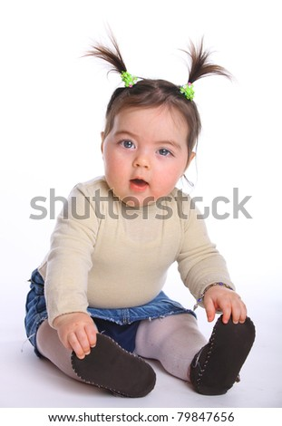 Little girl baby sitting on the floor isolated on white - stock photo