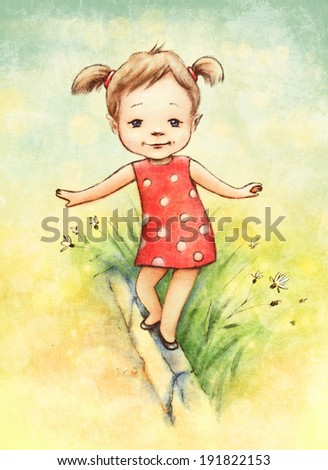 Little girl balancing on the curb - stock photo