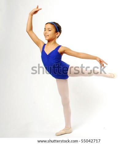 Little Girl Ballerina on White Background - stock photo