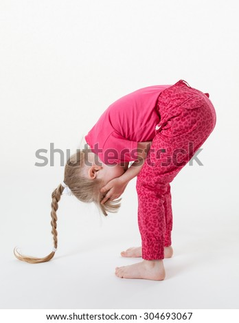 Little girl bending and closing her eyes, white background - stock photo