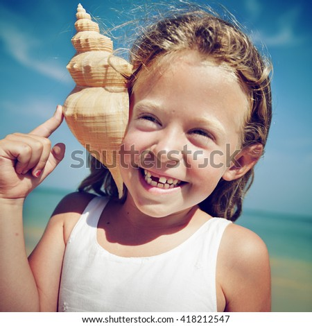 Little Girl Cheerful Summer Beach Happiness Vacation Concept - stock photo