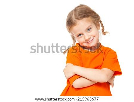 Little girl. Child on white background - stock photo