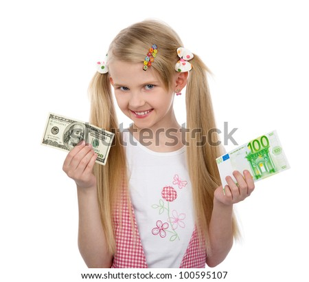 little girl choice dollar or euro. isolated on white background - stock photo