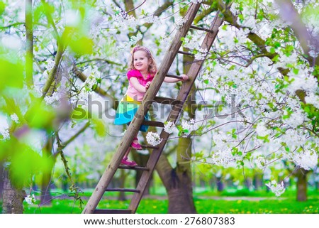 Little girl climbing a ladder in a fruit garden. Child playing in blooming cherry tree orchard. Kids on a farm. Countryside outdoor fun for family with children. Preschooler kid exploring wild nature. - stock photo
