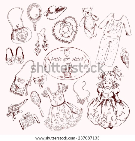 Little girl clothes accessories and toys set with pins comb mirror slippers abstract sketch doodle  illustration - stock photo