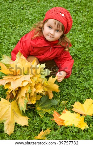 little girl collect maple leafs in the autumn in park - stock photo
