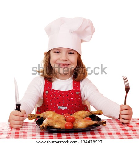 little girl cook ready for lunch - stock photo