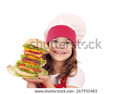 little girl cook with big hamburger - stock photo