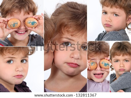 Little girl covering eyes with eggs - stock photo