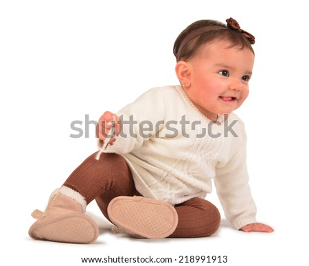 Little girl crawling on white background. - stock photo