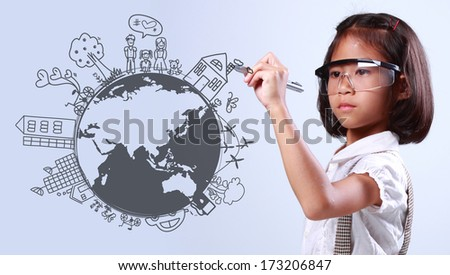 Little girl creative drawing on global environment with ecology happy family stories concept idea  - stock photo