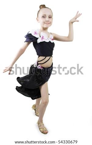 Little girl dancing to a white background - stock photo