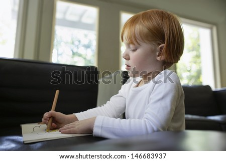 Little girl drawing in book at home - stock photo