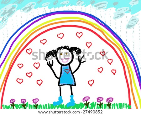 Little girl drawing of her happy self - stock photo