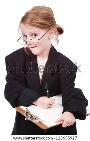 Little girl dressed as a business woman with a folder - stock photo
