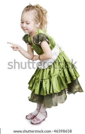 Little girl dressed as a pretty green princess. - stock photo