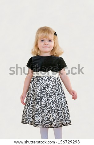 Little Girl Dressed Up For Christmas - stock photo