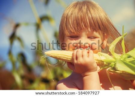 Little girl eating corn on the cob - stock photo