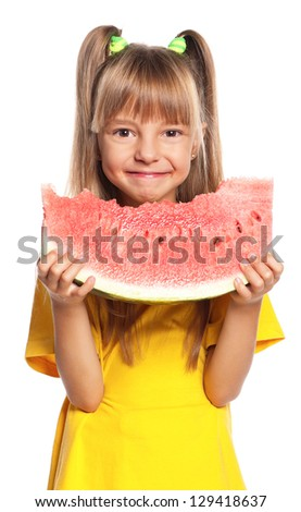 Little girl eating slice of watermelon isolated on white background - stock photo