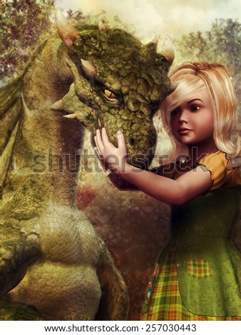 Little girl embracing the head of a green dragon - stock photo