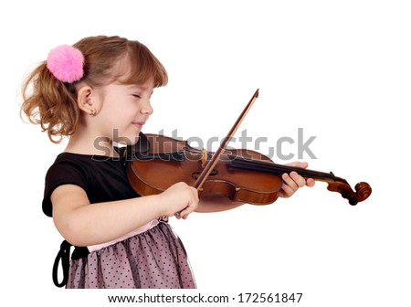 little girl enjoy while playing the violin  - stock photo