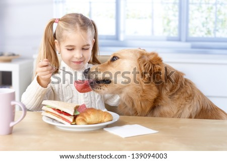 Little girl feeding dog from her own plate by fork, smiling. - stock photo
